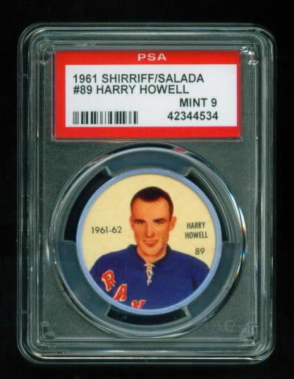 Details About 1961 Shirriff Salada Hockey Coin 89 Harry Howell Rangers Hof Mint Psa 9